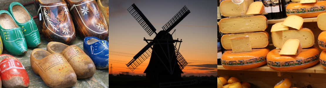 Wiatrak w Holandii. Ser holenderski.